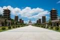 Картинка лето, небо, облака, деревья, город, голубое, Китай