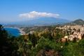 Картинка горы, побережье, Италия, панорама, Italy, Sicily, Сицилия