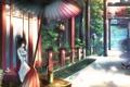 Картинка девушка, кошки, улица, здание, еда, зонт, art