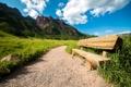 Картинка горы, природа, тропа, USA, скамья, Colorado, Maroon Bells