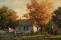 Картинка осень, деревья, дом, женщина, дым, забор, окна