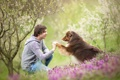 Картинка лето, человек, собака