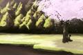 Картинка девушка, река, дерево, берег, сакура