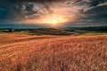 Картинка солнце, тучи, рассвет, холмы, поля, Италия, Tramontino A Montenero