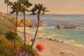 Картинка море, волны, пляж, пальмы, скалы, берег, арт