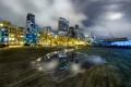 Картинка город, огни, отражение, доски, утро, лужа, сша