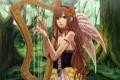 Картинка лес, девушка, озеро, крылья, арт, арфа, музыкальный инструмент