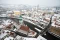 Картинка зима, снег, мост, город, река, здания, дома