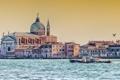 Картинка вода, птица, дома, катер, Италия, Венеция