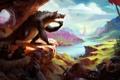 Картинка Монстр, долина, пещера, рыцари