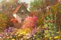 Картинка деревья, цветы, дом, забор, сад, арт, солнечно
