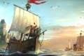Картинка море, чайки, арт, порт, герб, Anno 1404, бриг