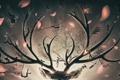 Картинка девушка, дерево, прыжок, олень, арт, рога, канаты