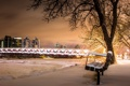 Картинка город, ночь, скамья, Calgary