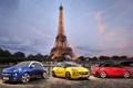 Картинка небо, синий, желтый, красный, Opel, вид сзади, Vauxhall
