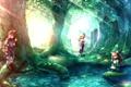 Картинка лес, вода, девушка, деревья, посох, парень