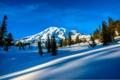 Картинка зима, небо, облака, снег, деревья, горы, ель