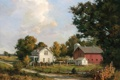 Картинка небо, облака, деревья, пейзаж, дом, картина, арт