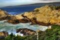 Картинка скалы, трава, океан, природа, пейзажи, вода, море