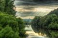 Картинка небо, свет, деревья, тучи, природа, река
