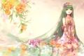 Картинка вода, девушка, цветы, ленты, рисунок, vocaloid, hatsune miku