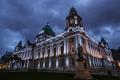 Картинка ночь, огни, памятник, City Hall, Северная Ирландия, Белфаст