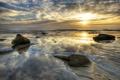 Картинка море, вода, закат, камни, берег