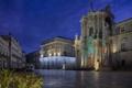 Картинка ночь, огни, дома, площадь, Италия, церковь