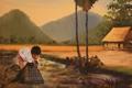 Картинка рыбалка, картина, рыбак, мальчик, живопись, КАмбоджия