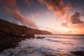 Картинка облака, океан, скалы, рассвет, берег