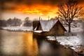 Картинка зима, снег, река, церковь, зарево