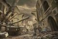 Картинка город, танк, война, солдаты