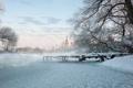 Картинка зима, Храм Покрова Пресвятой Богородицы, река, мост