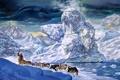 Картинка лёд, фантастика, фигуры, живопись, волк, снег, морж