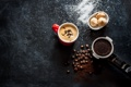 Картинка пена, кофе, чашка, кофейные зёрна, булочки