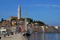 Картинка море, здания, яхта, причал, набережная, Хорватия, Istria