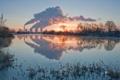 Картинка природа, трубы, озеро, завод, дым, Пейзаж