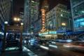 Картинка огни, метро, здания, Чикаго, ночной город, Chicago