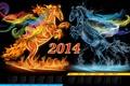 Картинка вода, огонь, лошадь, календарь, 2014