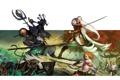 Картинка оружие, фон, фантастика, бой, эльфы, монстры, существа