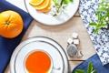 Картинка стол, чай, апельсины, ветка, чашка, сахар, цветение