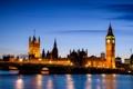 Картинка England, Great Britain, Великобритания, Westminster Palace, свет, мост, река