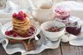 Картинка малина, варенье, raspberry, jam, блинчики, pancakes, Завтрак