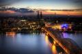 Картинка ночь, мост, огни, Кёльн