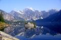 Картинка лес, пейзаж, горы, природа, озеро, отражение, остров