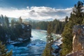 Картинка снег, деревья, горы, река, скалы, Природа