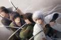 Картинка кровь, мечи, красные глаза, мужчины, самураи, Gintama, Sakata Gintoki