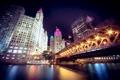 Картинка ночь, мост, город, огни, река, Чикаго, Иллиноис
