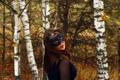 Картинка Девушка, маска, осень., берёзовая роща