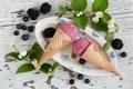 Картинка ягоды, черника, мороженое, ежевика, жасмин
